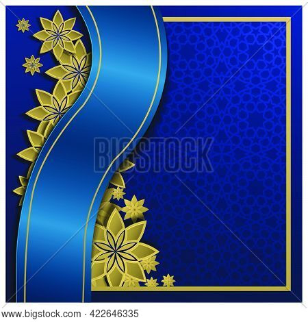 Greeting Beautiful Moroccan Pattern Vector With Glowing Gold Crescent For Card, Background, Banner,