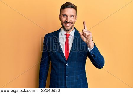 Handsome man with beard wearing business suit and tie pointing finger up with successful idea. exited and happy. number one.