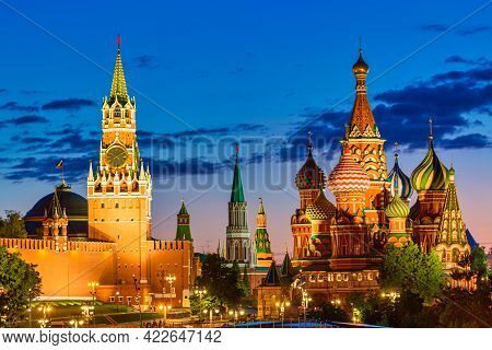 Beautiful Sunset Over The Kremlin Wall Towers And St. Basil Cathedral At The Red Square. Summer Suns