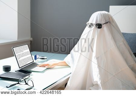 Ghostwriter Writing On Office Computer. Ghost Writer Using Laptop
