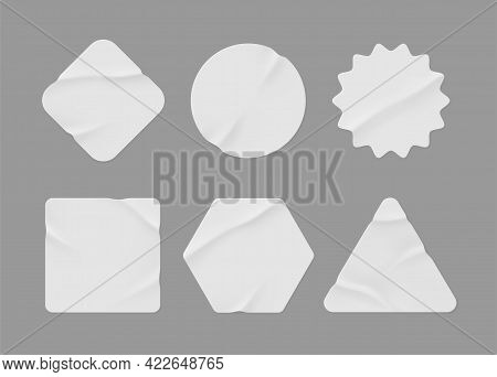 White Stickers Mockup. Blank Labels Of Different Shapes, Circle Wrinkled Paper Emblems. Copy Space.