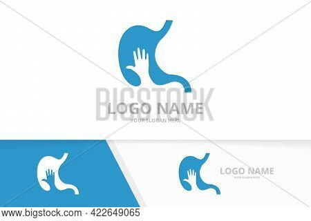Vector Stomach And Hand Logo Combination. Gastrointestinal Tract And Vote Logotype Design Template.