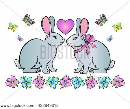 Rabbits, Heart And Flowers With Butterflies - Vector Full Color Illustration. A Pair Of Cute Enamore