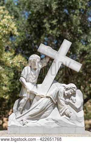 Santa Inez, Ca, Usa - April 3, 2009: San Lorenzo Seminary. Station Of The Cross Number 7 White Marbl