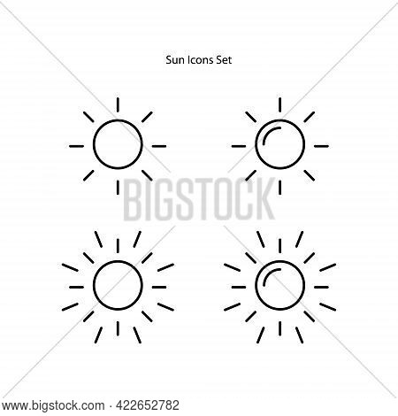 Sun Icons Set Isolated On White Background. Sun Icon Trendy And Modern Sun Symbol For Logo, Web, App