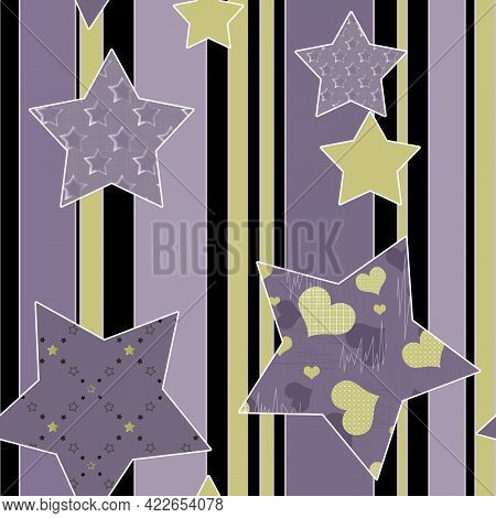Seamless Abstract Stars Starry Patchwork Ornamental Pattern Background