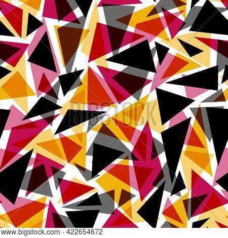 Seamless Geometric Triangles Shapes Pattern Mosaic Glass Vitrage Kaleidoscope Background