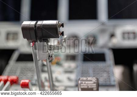 Engine Thrust Levers. Modern Jet Aircraft, Cockpit.