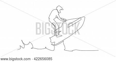 Strong Men Drives On The Jetski Above The Water- Continuous One Line Drawing