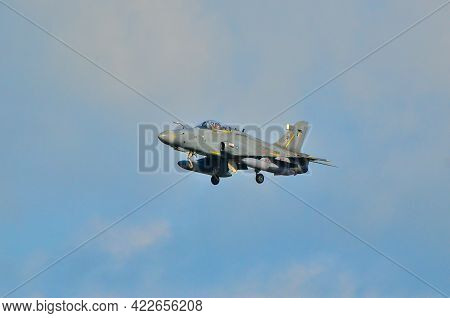 Labuan,malaysia-apr 24,2021:royal Malaysia Air Force British Aerospace Hawk 208 Fighter Jet Landing