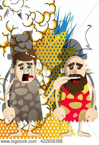 Cartoon Prehistoric Man Comforting Another. Vector Illustration Of A Man From The Stone Age. Helping