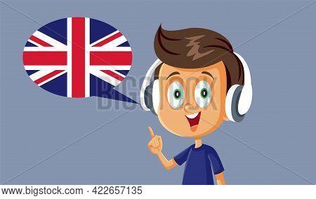 Little Boy Wearing Headphones Learning English Pronunciation