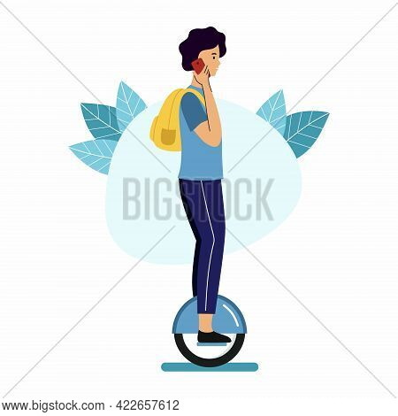Man With Backpack Rides On Monowheel And Talks On  Phone. Walk Around  City On  Mono Wheel.