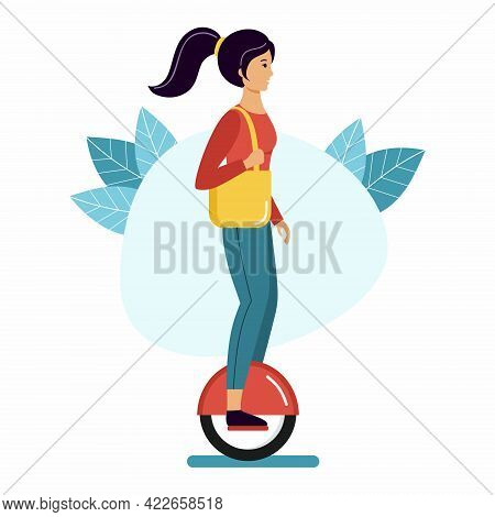 Woman Rides A Mono Wheel. Girl And  Scooter. Outdoor Activities.