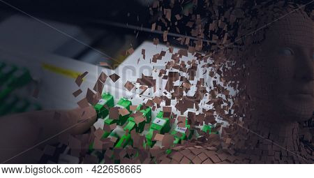 Composition of exploding human bust formed with particles and computer server. global connections, technology and digital interface.