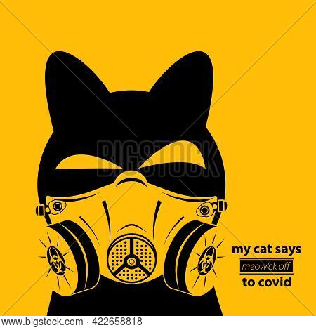 Cat In Biohazard Mask. Virus And Biological Danger. Icon, Logo, Poster, Sticker, Clothes Application