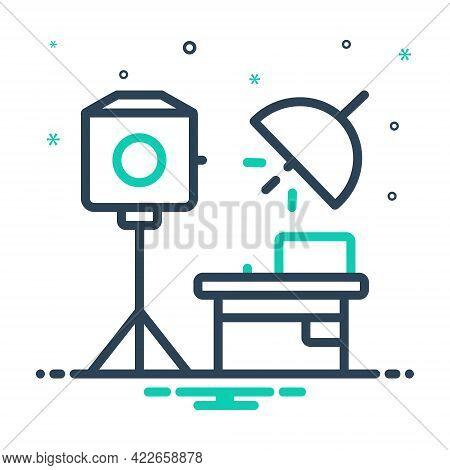 Mix Icon For Studio Photography Photo Camera Portrait Reflector Taking-photo Flash Work-room