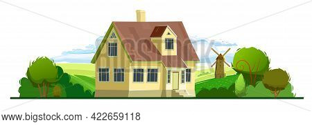 Rural Yellow House In The Garden. Half Turn. Cheerful Cartoon Flat Style. Isolated On White Backgrou