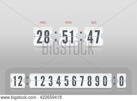 Flip Countdown Number On Light Vector Illustration Template. White Scoreboard Number Font. Vintage C