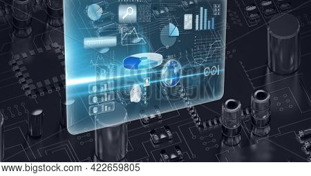 Composition of digital icons with globe over computer circuit board. global connections, technology and digital interface concept digitally generated image.