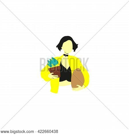 The Main Character Of The Film Leon: The Professional Color Icon. Matilda With Flower. Isolated Symb