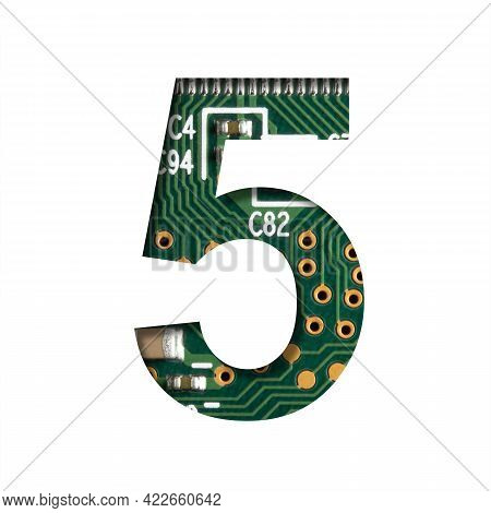 Digital Technology Font. Digit Five, 5 Cut Out Of White On The Printed Digital Circuit Board With Mi