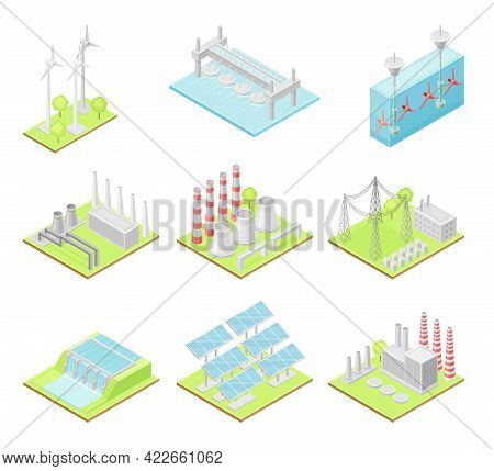 Green Energy With Solar Panels, Wind Generator And Hydro Power Station Isometric Vector Set