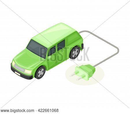Electric Car With Plug For Charging Battery As Ecology And Environment Protection And Conservation I