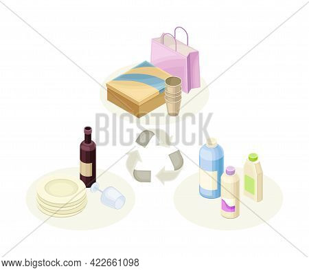 Recyclable Materials And Products As Ecology And Environment Protection And Conservation Isometric V