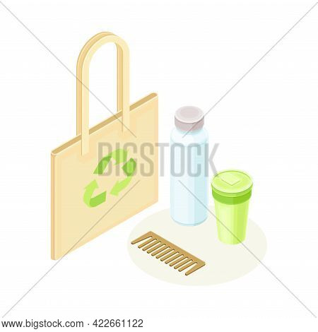Shopping Bag And Reusable Items As Ecology And Environment Protection And Conservation Isometric Vec