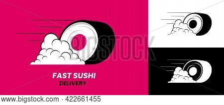 Fast Sushi Delivery Logo Design - Vector Fast Food Emblem. Stock Vector Illustration.