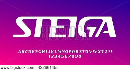 Steiga Alphabet Font. Minimalistic Letters And Numbers For Logo Or Emblem. Stock Vector Typescript F