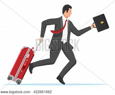 Man With Travel Bag. Tourist With Suitcase, Briefcase, Running To Airport. Businessman With Luggage