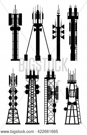 Transmission Cellular Tower Antenna Silhouette. Network Broadcast Equipment Isolated. Broadcasting,