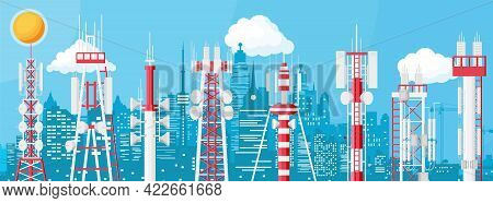 Transmission Cellular Tower Antenna Cityscape. Network Broadcast Equipment Isolated. Broadcasting, I