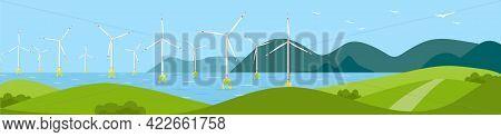 Seascape With Offshore Wind Generators. Offshore Wind Farm. Sea Wind Turbines. Long Horizontal Banne