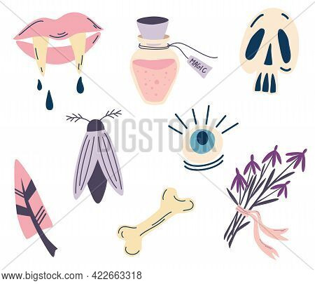 Set Of Magical Items For Halloween. Mystical And Magical Elements. The Symbol Of Witchcraft. Lips Wi