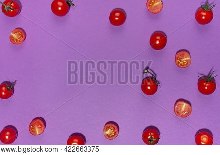 Juicy Red Tomato With Green Tail And Shadow On Purple Background, Frame, Copy Space, Top View. Moder