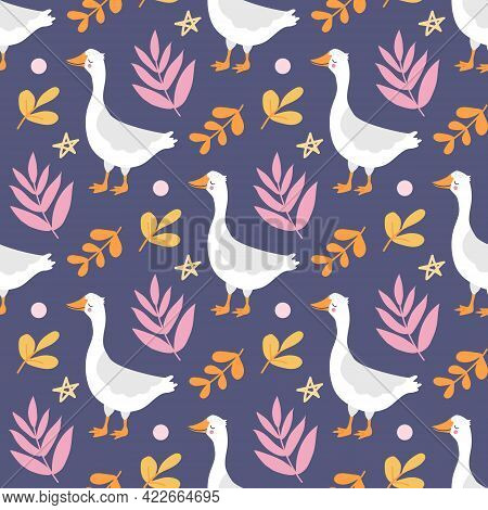 Cute Funny White Goose Among The Plants On A Purple Background. Vector Seamless Pattern On Purple Ba