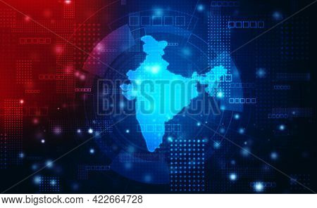 Digital India Internet Technology, India Map On Technology Abstract Background