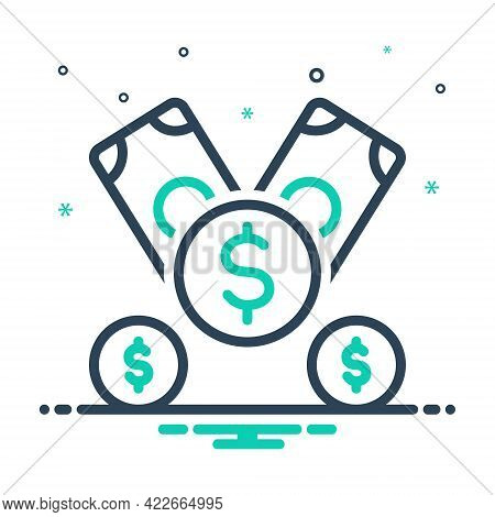 Mix Icon For Dollar Legal-tender Currency Finance Money Cash Payment Amount