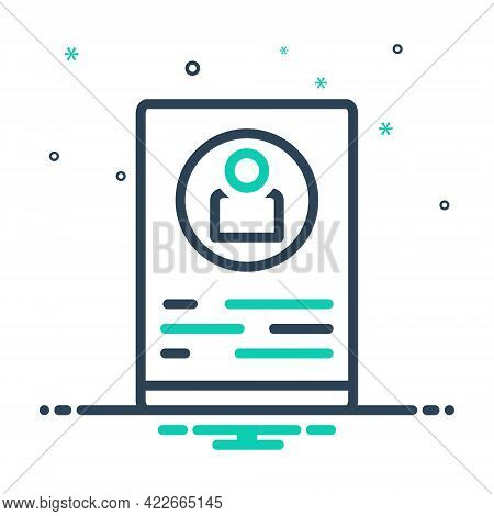 Mix Icon For Profile Delineation Figuration Resume Summary Elaboration Document Recruitment