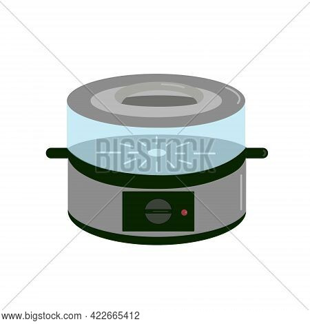 Electro Steamer With Black Plastic Base And Transparent Plastic Sections For Cooking, Electro Kitche