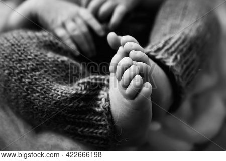 Baby Feet. The Tiny Foot Of A Newborn In Soft Selective Focus. Black And White Image Of The Soles Of