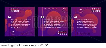 Quotes Template In Abstract Art Decorated With Simple Shapes. Creative Quotation Marks And Copy Plac