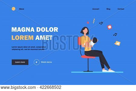 New Mom Holding Baby In Arms. Mother And Little Kid Sitting On Chair Flat Vector Illustration. Mothe