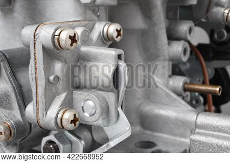 Details Of Car Carburetor, Small Depth Of Focus. Automotive Parts Of Fuel Injection System.