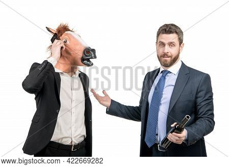 Drunk Businessman Show At Hardworking Man In Horse Head Talking On Phone On Party, Workaholic