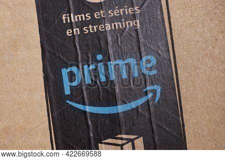 Salerno - May 29, 2021: Amazon Prime Logo Scotch Tape. Amazon.com, Inc., Is An American Multinationa