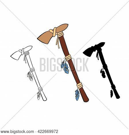 Native American Tomahawk.traditional Indian Weapons. Vector Illustration Is Colored, Silhouette And